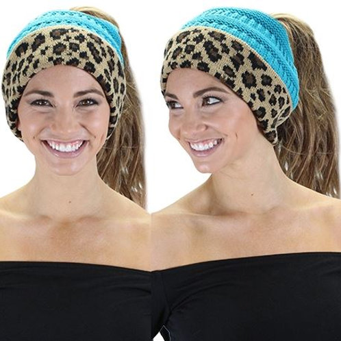 CC Ponytail Leopard Beanie Turquoise