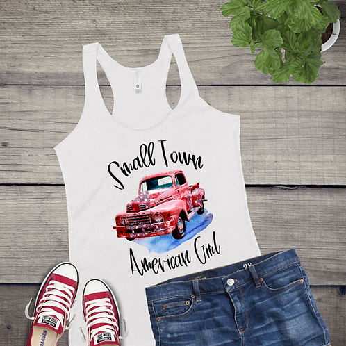 Tank Top GRAPHIC SUBLIMATED SHIRT Small Town American Girl