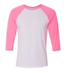 Bella & Canvas Unisex 3/4 Sleeve Raglan Tee Neon Pink/White