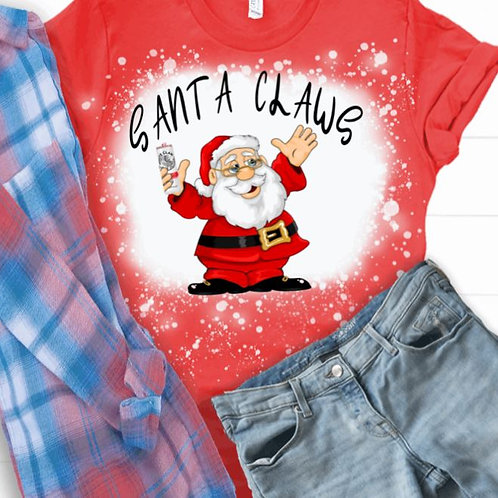 BLEACHED TEE Short or Long Sleeve Christmas Santa Claws