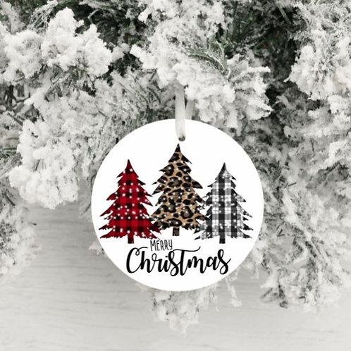 SUBLIMATED Christmas Ornament - Merry Christmas Plaid Trees ANY NAME