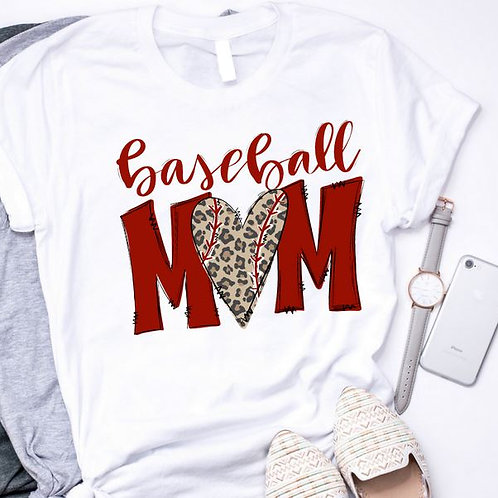 SUBLIMATED TEE Short or Long Sleeve Baseball Mom Leopard Heart