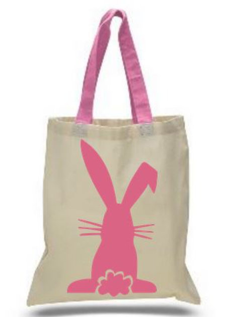 Easter Basket Tote Bags Cotton with Colored Handles All Colors Style #4