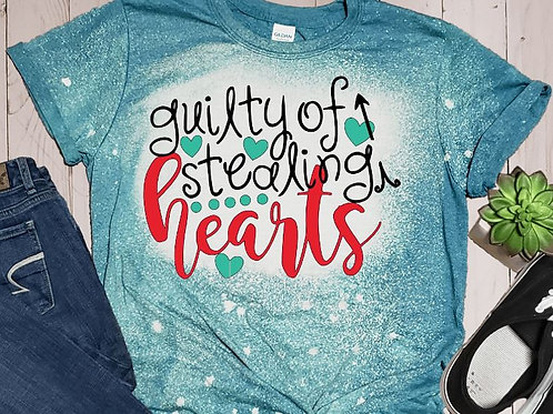 BLEACHED TEE Short or Long Sleeve Valentine Guilty of Stealing Hearts