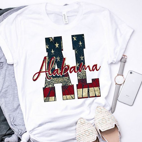 SUBLIMATED TEE Short Sleeve or Tank State Initials Vintage Flag ANY STATE