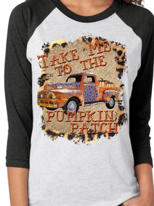 SUBLIMATED TEE RAGLAN HalloweenTake Me to the Pumpkin Patch