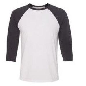 Bella & Canvas Unisex 3/4 Sleeve Raglan Tee Dark Grey/White