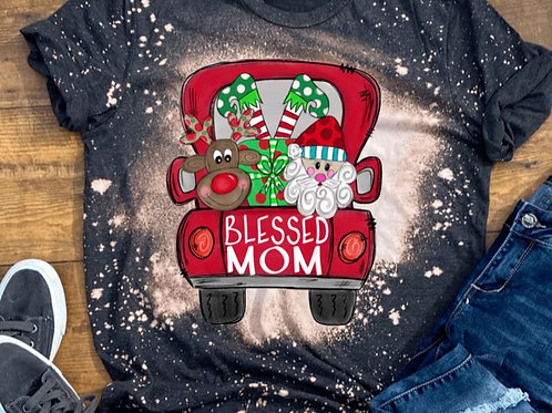 BLEACHED TEE Short Sleeve or Tank Merry Christmas Truck ANY NAME