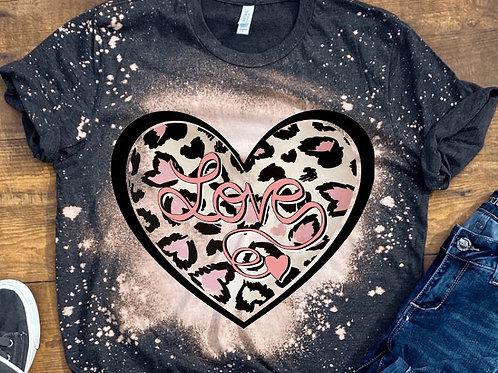 BLEACHED TEE Short or Long Sleeve Valentine Love Heart Pink Cheetah