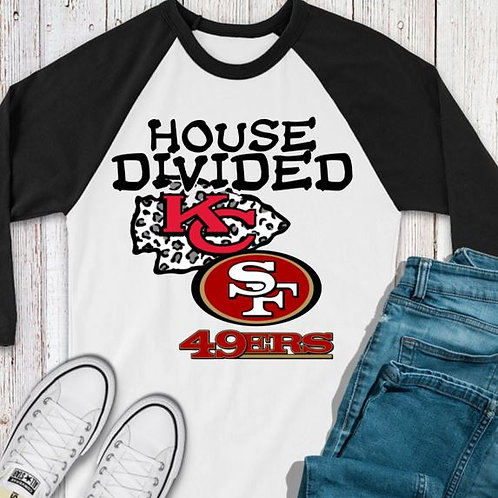 SUBLIMATED TEE RAGLAN House Divided KC 49ers