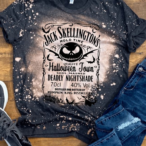 BLEACHED TEE Short or Long Sleeve Jack Skellington Brewery