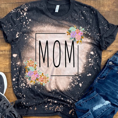 BLEACHED TEE Short or Long Sleeve Mom Square or ANY NAME