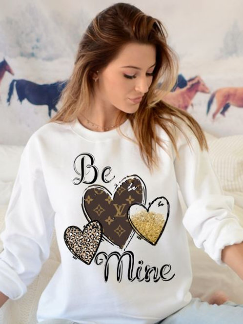 SUBLIMATED Sweatshirt Be Mine Louis Hearts Brown