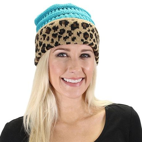 Leopard Beanie Turquoise