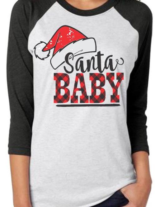 SUBLIMATED RAGLAN Santa Baby Plaid Lettering