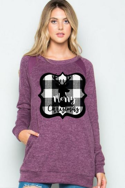 Brushed Knit Elbow Patched Long Sleeve Tunic Plaid Christmas Deer Purple