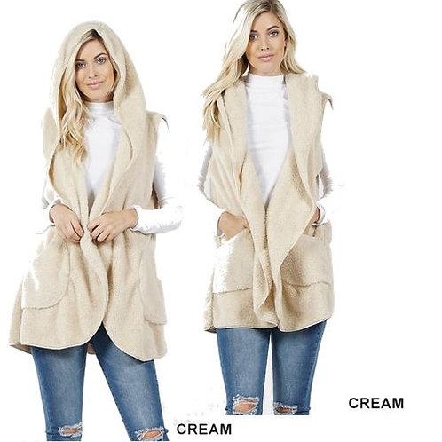 Faux Fur Hoodie Vest with Side Pockets Cream
