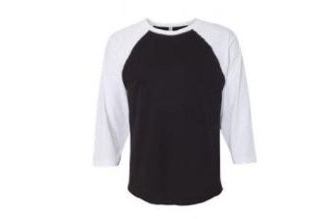 LAT Unisex 3/4 Sleeve Raglan Tee White/Black