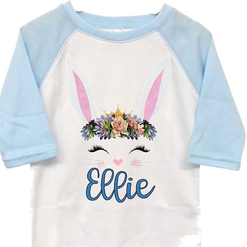 SUBLIMATED Toddler RAGLAN Easter Bunny with Name