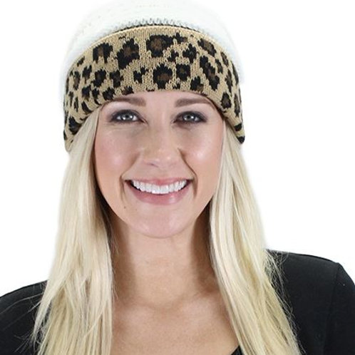 Leopard Beanie White