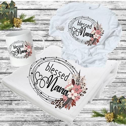SUBLIMATED BLANKET SET - Blanket, Mug Long Sleeve Tee Blessed Wreath
