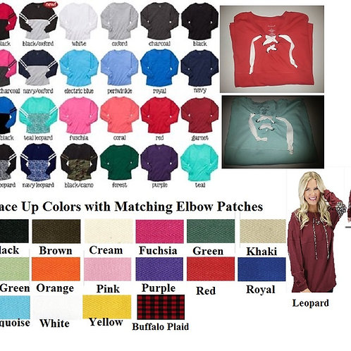 Lace Up Pom Pom Jersey with Elbow Patches Many Colors Adult and Youth Sizes