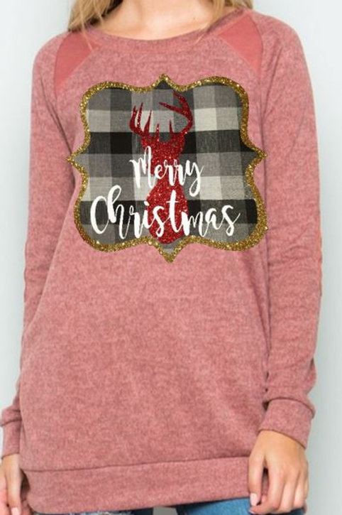 Brushed Knit Elbow Patched Long Sleeve Tunic Plaid Christmas Deer Rose