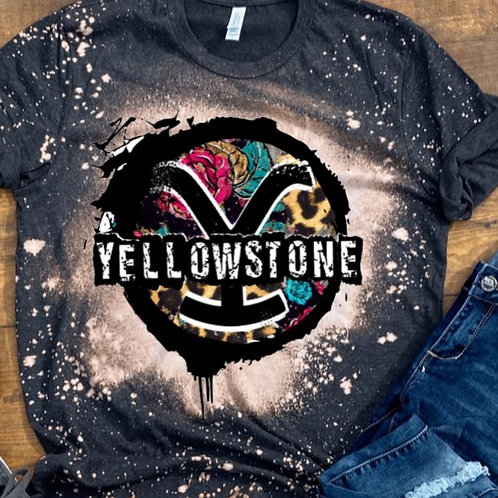 BLEACHED TEE Short or Long Sleeve Yellowstone Rose Leopard