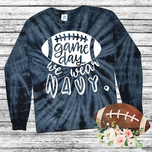 Graphic Tie Dye TEE Long Sleeve Game Day We Wear Navy