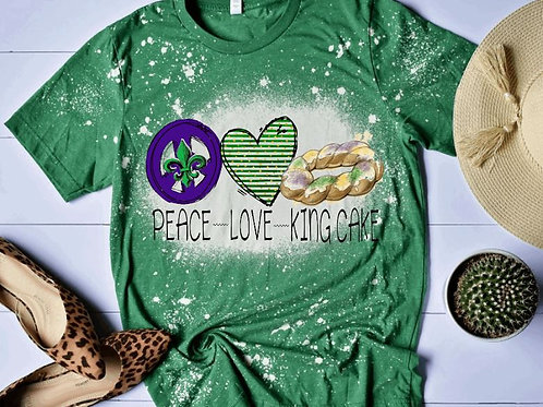 BLEACHED TEE Short or Long Sleeve Mardi Gras Peace Love King Cake