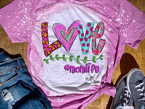 BLEACHED TEE Short or Long Sleeve Valentine LOVE Doodle #ANY NAME