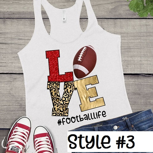 Tank Top SUBLIMATED GRAPHIC SHIRT LOVE Football Style #3
