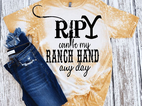 BLEACHED TEE Short or Long Sleeve Yellowstone RIP Ranch Hand