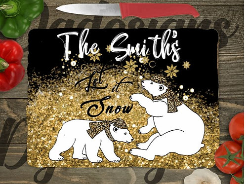 SUBLIMATED Glass Cutting Board SMALL or LARGE Christmas Let It Snow