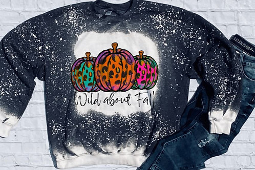 SUBLIMATED Bleached Sweatshirt Wild About Fall Pumpkins