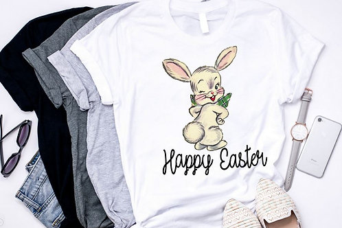 SUBLIMATED TEE Short or Long Sleeve Happy Easter Cute Bunny