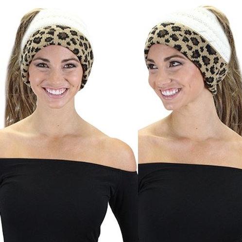 CC Ponytail Leopard Beanie White