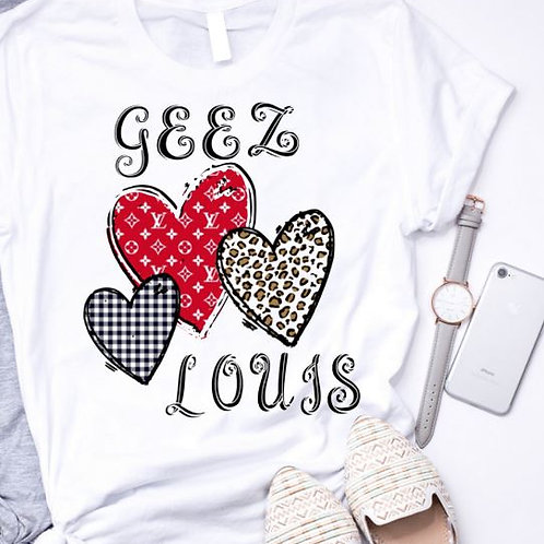 SUBLIMATED Sweatshirt Geez Louis Hearts Red