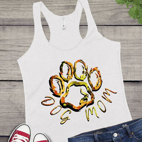 Tank Top SUBLIMATED GRAPHIC SHIRT Dog Mom Cut Out Paw Orange yellow