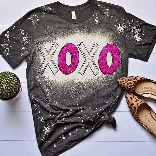 BLEACHED TEE Short or Long Sleeve Valentine XOXO LV Pink