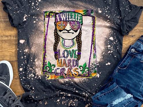 BLEACHED TEE Short or Long Sleeve Mardi Gras Willie Love Mardi Gras