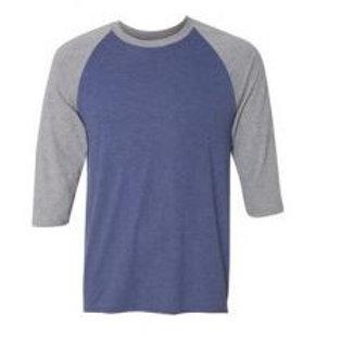 Anvil Unisex 3/4 Sleeve Raglan Tee Heather Grey/Blue