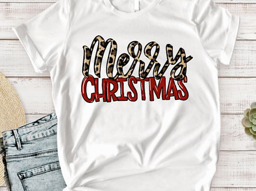 SUBLIMATED TRANSFER ONLY Merry Christmas Leopard