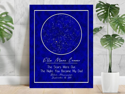 SUBLIMATED HD Aluminium Panel Star Map Personalized ANY EVENT Blue