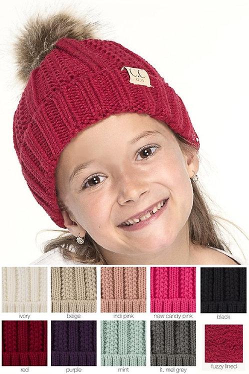 Kids CC Fur Pom Pom Beanie Many Colors