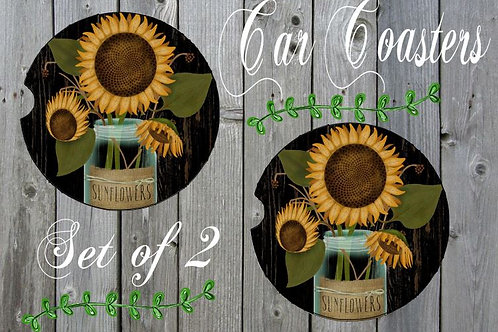 SUBLIMATED Car Coasters Set of 2 Rubber or Sandstone Sunflowers
