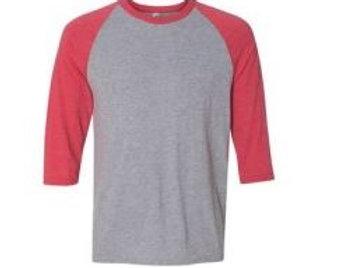 Anvil Unisex 3/4 Sleeve Raglan Tee Heather Red/Grey