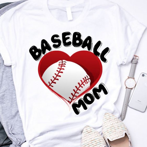 SUBLIMATED TRANSFER ONLY Baseball Mom Large Heart