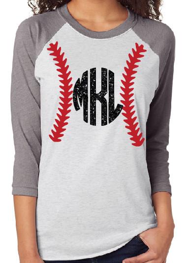 f8225959 Women's Raglan 3/4 Sleeve Baseball Shirt Baseball Stitch Monogrammed  Personalized Women's, Color: Grey Sleeve/Heather White Body