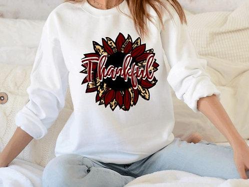 SUBLIMATED Sweatshirt Thankful Sunflower Maroon